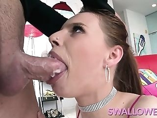 big cocks SWALLOWED Jillian Janson slurping on a hard cock blowjob brunette