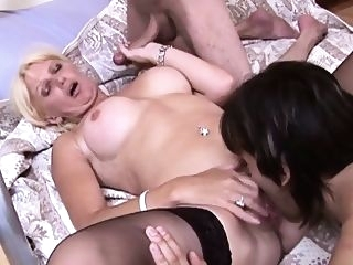 big boobs Double penetration for dity talking mature wife blowjob gangbang