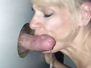 blonde Glory Hole Slut Gets the Cum blowjob cumshot