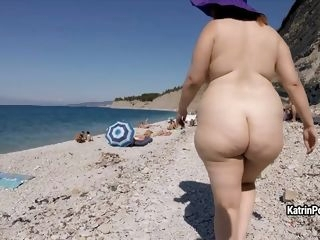 solo female Katrin Porto - Nude Beach Walk amateur red head