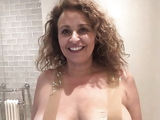 celebrity Nadia Sawalha Tapes Her Big Tits Up funny nipples