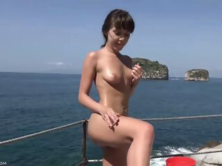 amateur Wealthy babe likes to spend days on her yacht and play with her pussy and tits hairy hd