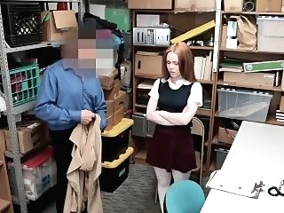 hardcore ShopLyfter - Redhead Teen Got Caught Stealing hd hidden cams