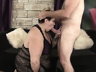 bbw A grey-haired guy sticks his big dick in fat latina's warm big boobs blowjob