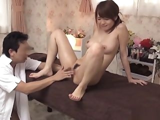 asian Cute busty babe likes her cunt fingered in a massage parlour big tits blowjob