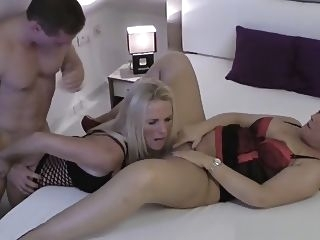 mature Threesome with horny young Boy close-up milf