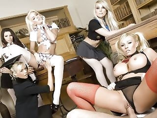 blonde Reverse Gangbanged by Four Horny Schoolgirls n Their Teacher blowjob cumshot