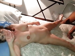 brunette Wife not happy nervous as black cock fucks and creampies her cumshot hardcore