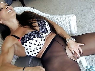 fingering Open Sheer Tights Show Big Clit and Labia top rated milf
