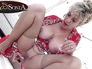 blonde Lady Sonia gets off with her new vibrator mature pornstar