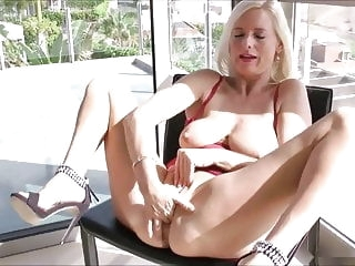 blonde Horny Mom Fucks Herself sex toy fingering