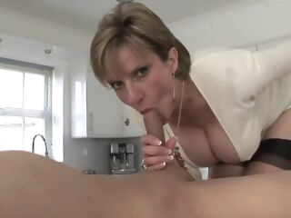 big tits Naughty mature stepmom having a real orgasm with her stepson blowjob creampie