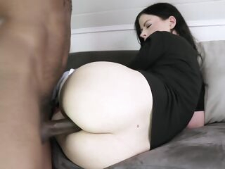 anal Hot brunette does rim job and anal fuck hardcore interracial
