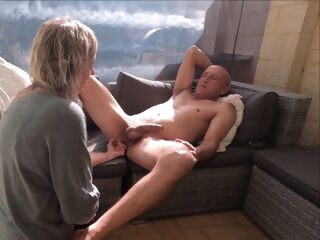amateur Hot & Hard Strapon Pegging on our Patio - Love Fucking him - MIN MOO anal blonde