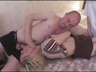 blonde Milf mature women rough sex by two man blowjob compilation